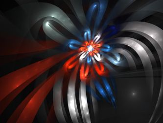 Red white and Blue Bow by MzKitty45601