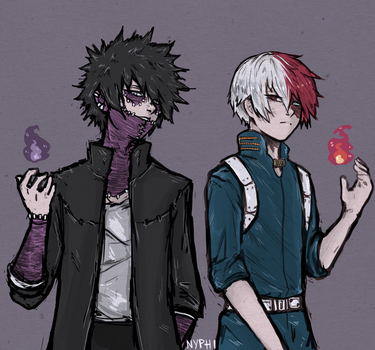 Boku no Hero Academia: Todoroki Shoto and Dabi by nyphi