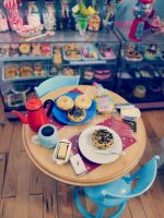 Bagels and coffee with re-ment miniatures by LittlestSweetShop