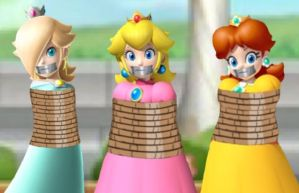 Peach, Daisy, and Rosalina Tied Up Tape Gagged by Goldy0123