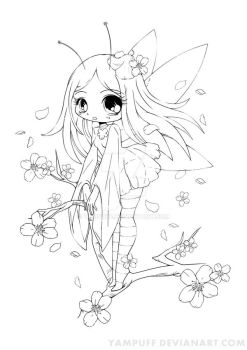 Cherry Blossom Fairy Lineart Commish by YamPuff