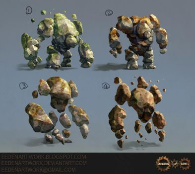 Stone Golem Sketches by Eedenartwork
