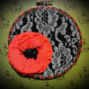 Simple handmade poppy hoop with silver/black lace by WhimsicallyObsessed