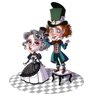 Mad Hatter and White Queen by Lefantoan