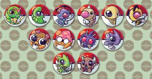 first generation bug type pokemon button designs by tikopets