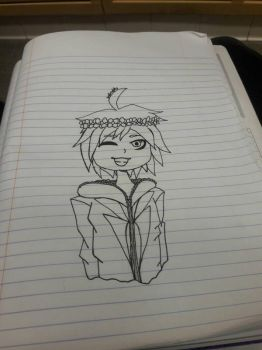 ~UNCOLORED~ Flower Crown Naegi by Icee-Pup