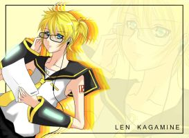 Kagamine Len w/ Glasses by DeliciousPocky
