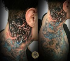 Crazy Skull behind the ear tat by 2Face-Tattoo