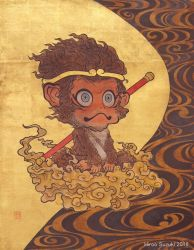 Son Goku on the cloud(Journey to the West) by Hiroo-Suzuki