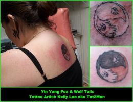 Yin Yang Fox-Wolf Tail Tattoo by DemonessKalite