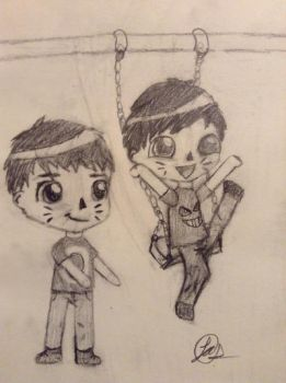 Dan and Phil chibi style! by Psychotic-Turtle