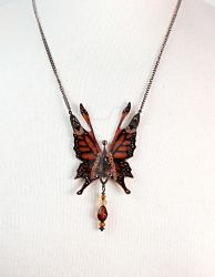 Crystal Fairy Wings Necklace in Monarch (Closeup) by glittrrgrrl