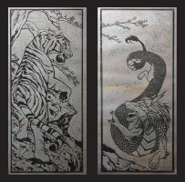 Tiger and Dragon Print-Gun Metal Foil by CrimsonWolf2016
