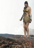 Gal Gadot steps on a tiny village by Hongo2