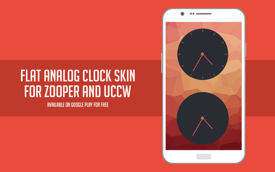Flat analog clock skin for Zooper and UCCW by Rasvob