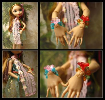 Doll flower bracelets and scarf by Pearllight180