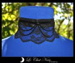 Black Pleated Lace Collar by LeChatNoirCreations