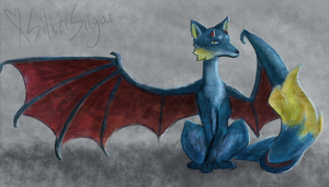 Giftart: Fox Dragon, Painted Sketch by SilverSugar