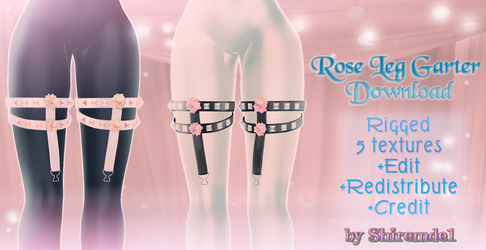 Rose Leg Garter [Download] - for MMD by Shiremide1