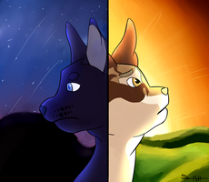 Crowfeather and Leafpool by sasmolt