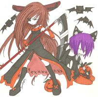 Demi and Stabbers Halloween. by MarshmallowCream