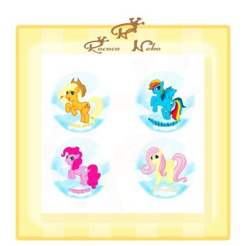 My little pony friendship is magic button set A by RococoNeko