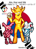 .:World Cup Mascots:. Ato, Nik and Kaz (Spheriks) by MundienaSKD