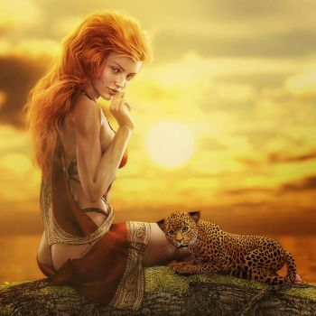 Red Head Girl + Leopard Cub at Sunset, Fantasy Art by shibashake