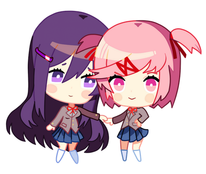 Holding Hands - Doki Doki Chibi Commission by EvaHeartsYou
