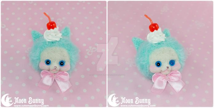 Ice cream cat brooch by CuteMoonbunny