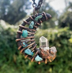 MOON Crystal Turquoise Copper Electroformed Jewel by SoulVibrationArt