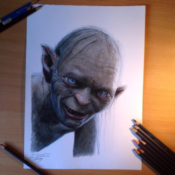 Gollum color pencil drawing by AtomiccircuS