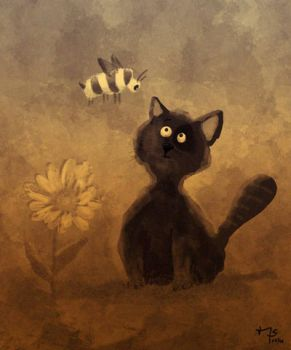 Digital painting: Cat and Bee by sodeikat