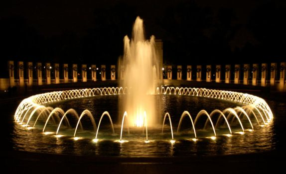 Fountain at night by SlythandGryfflover15