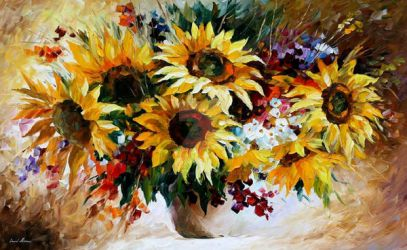 BOUQUET OF SUNFLOWERS BY LEONID AFREMOV by Leonidafremov