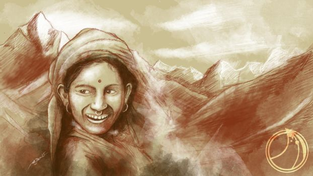 little nepalese Girl by ammerseearts