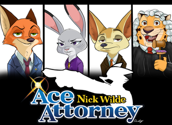 Nick Wilde: Ace Attorney (commission) by Quirky-Middle-Child
