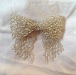 Silver Bead Ribbon Pin by pinkythepink
