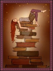 My Bed of Books by LizzyLaFay