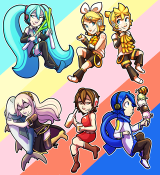 Vocaloid Stickers (now for sale!) by flyteck