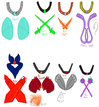 (TMNT OCs) Necklaces and Weapons by Foziz105