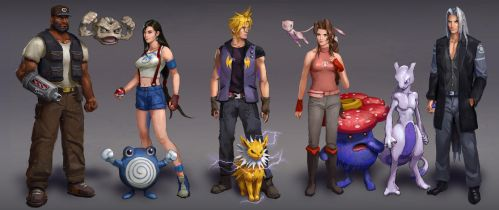 Final Fantasy 7 + Pokemon by AndrewRyanArt