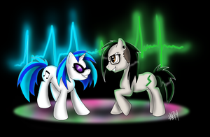 Vinyl Scratch and Skrillex pony by FlameEtain