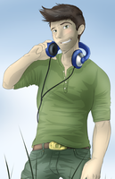 Nate and his headphones by Joki-Art