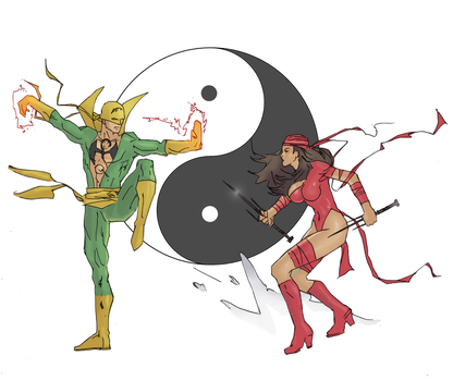 Iron fist drawing (colored) by electronicdave