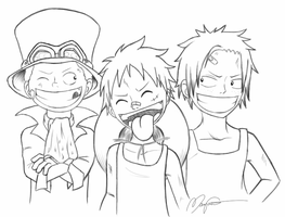 Sabo Luffy and Ace by Neonroze