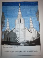 InkTober Drawing #10 LDS Portland, OR Temple by Justyn16