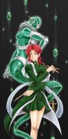 Fem!Kakyoin and Hierophant Green by maiyeng