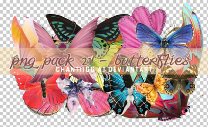PNG PACK 21 - BUTTERFLIES by ChantiiGG