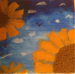Sunflowers and Sky by tootleytoo